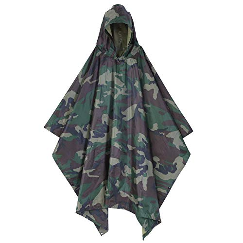 Waterproof Rain Poncho Camping Hooded Ripstop PVC Adults Raincoat Woodland Camouflage Outdoor Hunting Fishing with Matching Bag