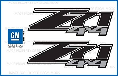Decal Mods Chevy Silverado Z71 4x4 Decals Stickers Black Blackout - FBLK (2007-2013) Bed Side 1500 2500 HD (Set of 2) [Officially Licensed, Made in The USA, Brand ()