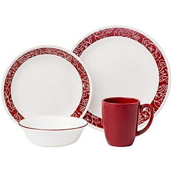 Corelle Livingware 16-Piece Dinnerware Set Bandhani Service for 4  sc 1 st  Amazon.com & Amazon.com | Corelle Livingware 16-Piece Dinnerware Set Bandhani ...