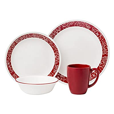 "Corelle Livingware 16-Piece Dinnerware Set, Bandhani, Service for 4 - Service for 4 includes: 4 each 10-1/4"" Dinner Plates, 6-3/4"" Bread and Butter Plates, 18-Ounce Soup/Cereal Bowls, 11-Ounce Stoneware Mugs Made with break and scratch resistant patented Vitrelle glass technology Space saving design: lightweight and thin, yet extremely durable - kitchen-tabletop, kitchen-dining-room, dinnerware-sets - 41QYqYfwbYL. SS400  -"