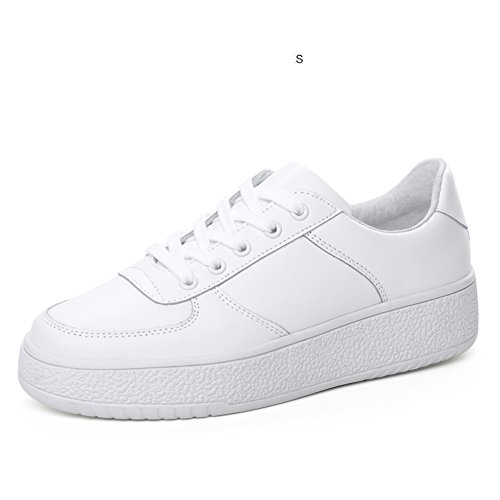 Svago Di Di Bianco Suola Scarpe Spessa Coreano Jurchen Consiglio Scarpe Primavera Con Di Sneakers Cuoio Scarpe B Scarpe Piatto gxqP10Sw