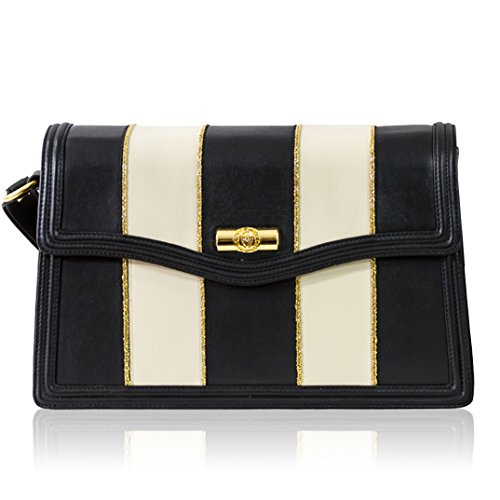 Valentino Orlandi Italian Designer Pequin Striped Black & White Leather Crossbody Bag