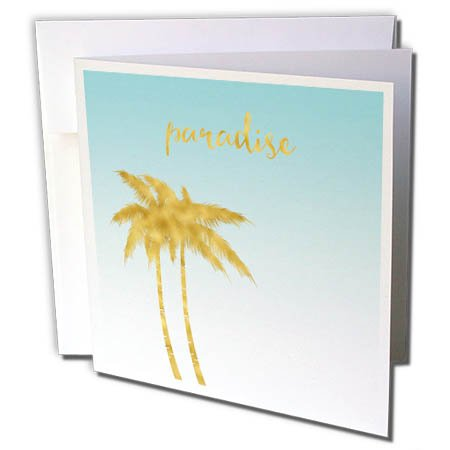 Tropical Wedding Postage (3dRose PS Inspiration - Image of Blue Ombre Gold Palm Trees Tropical Paradise - 1 Greeting Card with envelope (gc_280679_5))