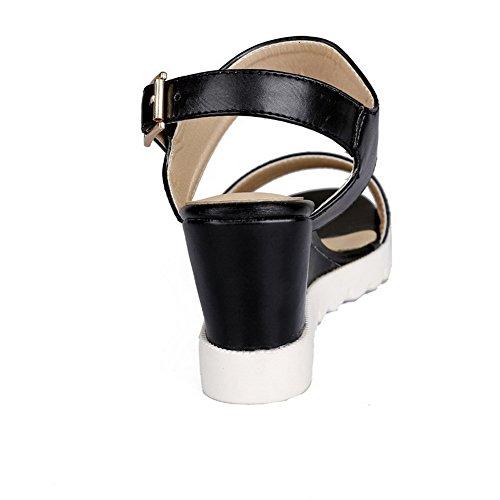 Sandalias para Tacones hebilla AllhqFashion con Material Sólido altos abierta suave Negras con mujer punta nvXXr7x