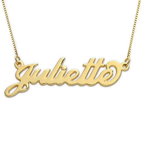 MyNameNecklace Small Name Necklace - Small Carrie Pendant - Custom Jewelry (14, 10k Yellow Gold)