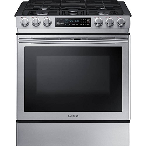 Samsung 30 in. 5.8 cu. ft. Single Oven Gas Slide-In Range with Self-Cleaning and Fan Convection Oven in Stainless Steel