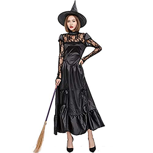 Zooka Gothic Adult Women Halloween Witch Costume Dark Angel Ghost Bride Cosplay Party Dress for Ladies(L)