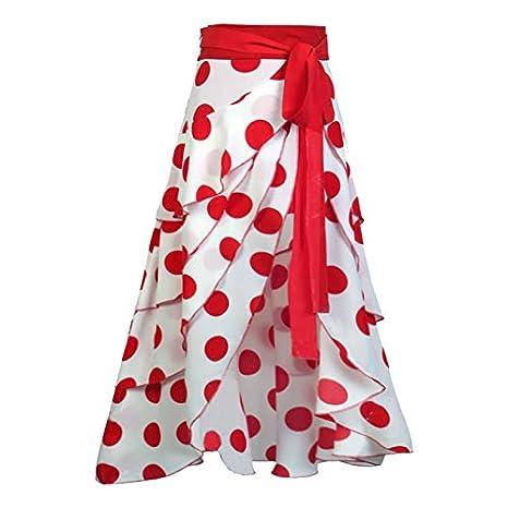 DQHXGSKS Falda de Las Mujeres Irregulares Dot Bowknot de Cintura ...