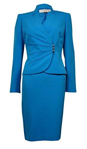 Tahari ASL Womens Petites Ginny Long Sleeves 2PC Skirt Suit Blue 14P