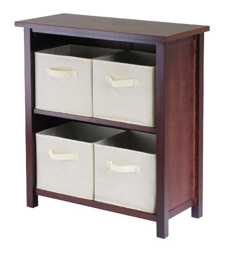 Winsome Wood Verona Wood 3 Tier Open Cabinet with 4 Beige Folding Fabric Baskets
