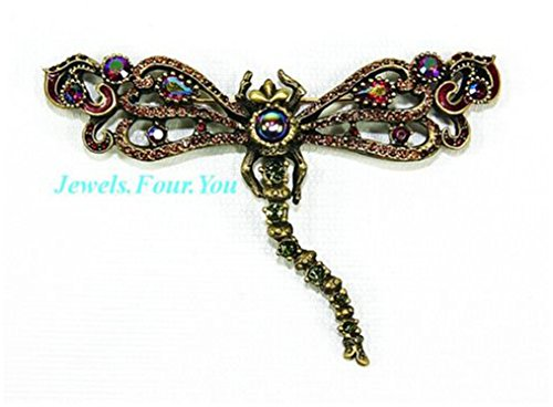JAY STRONGWATER XLARGE 4'' WIDE DRAGONFLY PIN BROOCH SWAROVSKI NEW MADE IN USA by Unknown