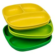 Re-Play Made in USA 3pk Divided Plates with Deep Sides for Easy Baby, Toddler, Child Feeding - Yellow, Green, Kelly Green (Stem)