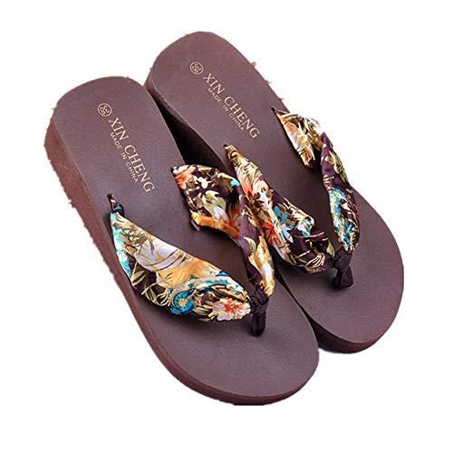 Women Flats Shoes Bohemia Floral Beach Sandals Wedge Platform Thongs Slippers Flip Flops CO/39 Coffee