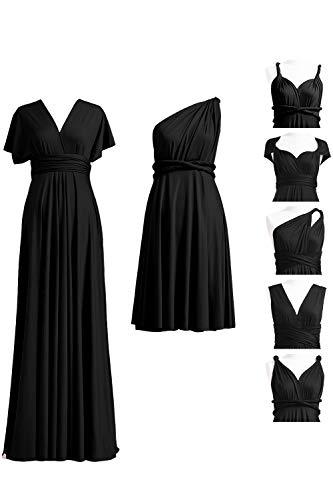 Infinity Jersey - 72STYLES Black Infinity Dress with Bandeau, Convertible Dress, Bridesmaid Dress, Long,Short, Plus Size, Multi-Way Dress, Twist Wrap Dress