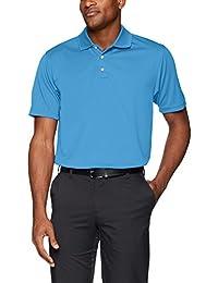 Men's Pebble Beach Golf Polo Shirt with Short Sleeve and Horizontal Textured Design