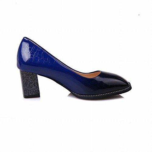 Carolbar Dames Gradiënt Vierkante Neus Mid Hielen Partij Pumps Schoenen Blauw