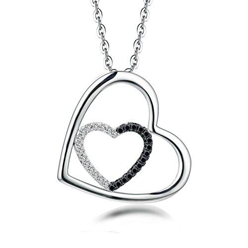YL 14K White Gold Black & White Diamond Double Heart Pendant Necklace (0.16 Carat, H-I Color SI Clarity)