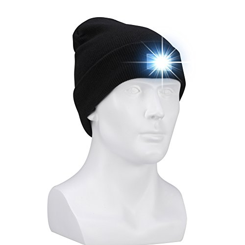 - W-Plus Unisex 5 LED Knitted Flashlight Beanie Cap for Hunting, Camping, Grilling, Auto Repair, Jogging, Walking, or Handyman Working - One Size Fits Most