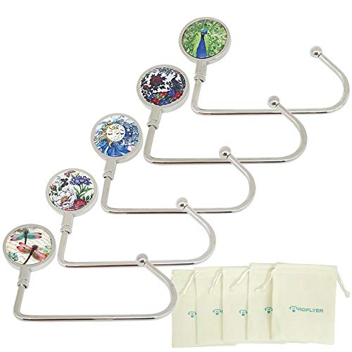 ROFLYER Nature Instant Swivel Top Purse Hook Hanger Under Counter Handbags Hooks (Set of 5) ()