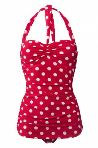 Esther Williams Women's 50s Pin Up One Piece Swimsuit (6, Red/White Polka Dots)