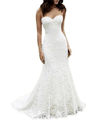 Eldecey Women's Sweetheart Strapless Lace Formal 2017 Court Train Wedding Bridal Dress Ivory US12