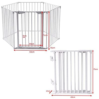 8 Panels, White Room Divider Fire Guard COSTWAY 6/&8 Panel Baby Playpen Metal Foldable Design Multiple Use for Pet Fence Yard Barrie