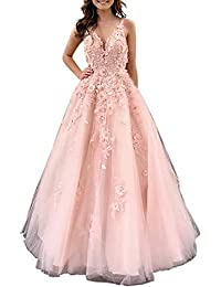 VeraQueen V-Neck Lace Applique Long Ball Gown A Line Sleeveless Belted Formal Evening Dress