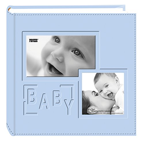 Pioneer Photo Albums 200-Pocket Embossed 'Baby' Leatherette Frame Cover Album for 4 by 6-Inch Prints, Blue