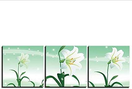 Pintura en lienzo HD 3 PIEZAS Lámina de arte abstracto moderno flor cuadros galería de arte envuelto para dormitorio decoración de la pared Xim469-40CM*40CM*3