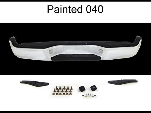 040-Super White REAR STEP BUMPER PAINTED WHITE ASSY, WITH REINFORCEMENT BAR, PADS, BRACKETS, LICENSE LAMP TO1103114