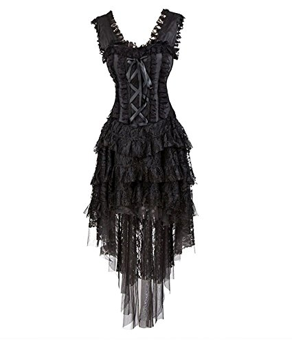 FetiWear Aphrodite Black Burlesque Layered Ruffled Lace Corset dress S-2XL by FetiWear