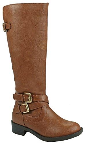 Leatherette Cross - Kids Girls Bio Cognac Leatherette Cross Strap Buckle Decor Zip Knee High Riding Boots-13