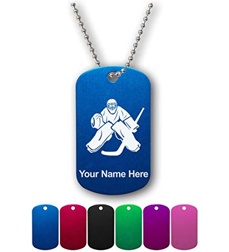 Military Style ID Tag, Hockey Goalie, Personalized Engraving Included