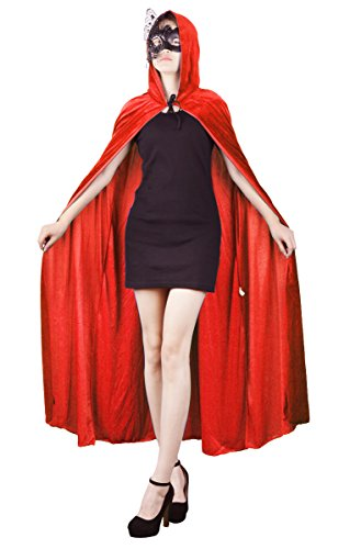 Womens Velvet Hooded Cloak Costumes Halloween Wizard Hooded Party Cape (Red)