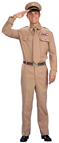 Shirt Army Adult Costumes (Forum Novelties Men's World War Heroes Costume General Shirt and Tie, Tan, One Size)