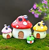 SUN-E 4 color&Size In Set Miniature Fairy Garden Mushroom House Ornament Outdoor Decor Home Decoration For Sale