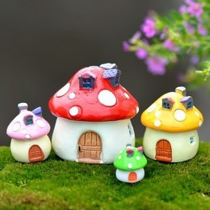 Exceptionnel SUN E 4 Coloru0026Size In Set Miniature Fairy Garden Mushroom House Ornament  Outdoor Decor Home