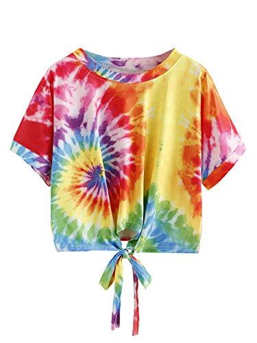 Embroidered Tie Dye Tie - SweatyRocks Women's Tie Dye Print Tie Front Short Sleeve Crop Top T-Shirt Multi One Size