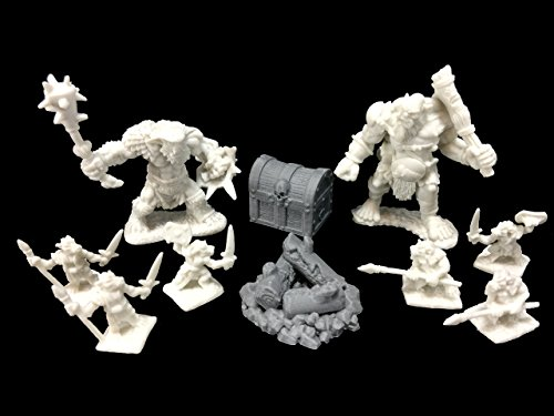 Reaper Army Camp Bundle - Kobolds (6), Bugbear Warrior, Ogre Chieftain, 3d Printed Skull Treasure Chest and Campfire