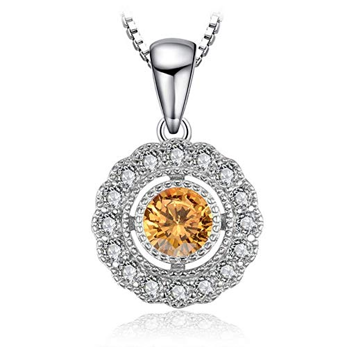(CS-DB Silver Vintage 1 ct Round Orange Sapphire Wedding Pendants Necklaces For Womens)