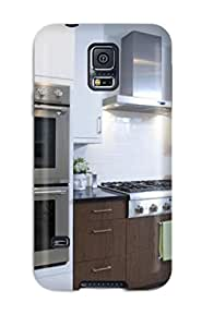 Brandy K. Fountain's Shop Hot Awesome Case Cover/galaxy S5 Defender Case Cover(white Modern Kitchen With Double Oven And White Washed Hardwood Floors) 5503797K59071777