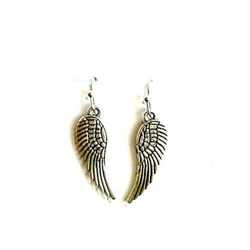 Angel Wing Earrings antique silver dangling TWD wing earrings Handmade Gift by Aunt Matilda