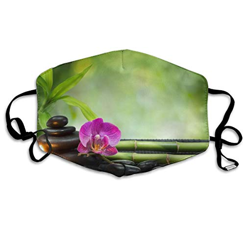 (Whages Symbol Spa Features Candles and Bamboo Serene and Thoughtful Washable Reusable Safety Breathable Mask, 4.3