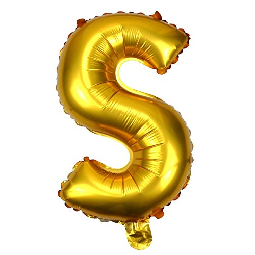ForuMall Cute A to Z Gold Alphabet Letters foil Balloons Happy Birthday Party Decoration Supplies (S)