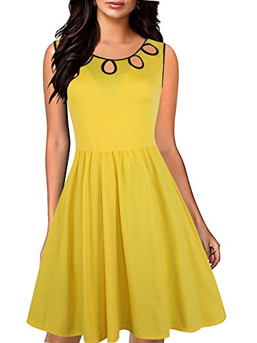 Oxiuly Women's Vintage Sleeveless Casual Cocktail Party Work Swing Dress OX247 (L, Yellow)