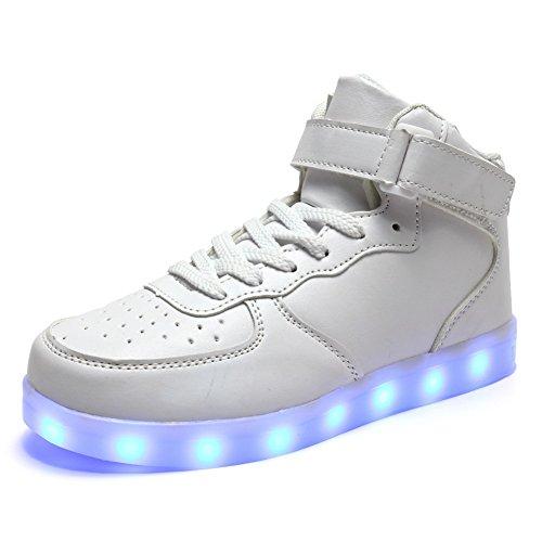 Fckee Nye Opgraderede Led Lys Op Sko Blinkende Sneakers Lyser Sportssko Usb Opladning Blinkende Sko Til Børn Dame Herre Hvide 2hFq2csok