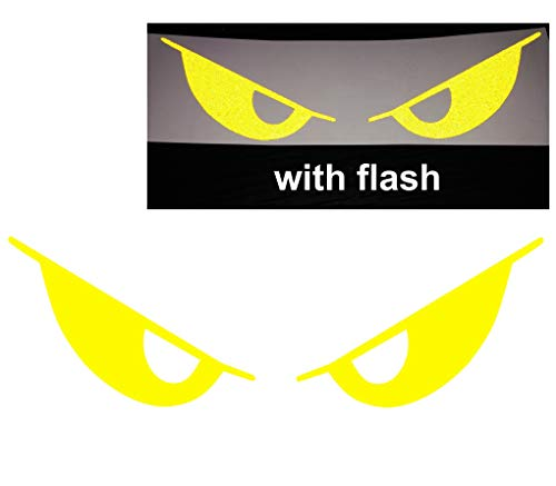 - Yellow 3M Evil Eyes No Fear Decal Reflective Reflector Safety Devil Demon Sticker 6