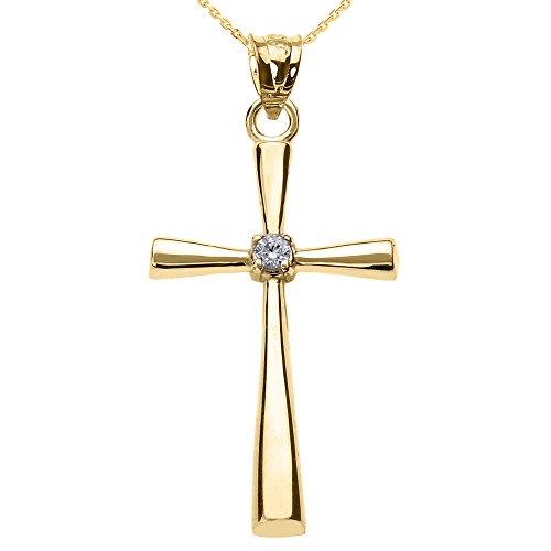 Collier Femme Pendentif 10 Ct Or Jaune Solitaire Diamant Croix (Livré avec une 45cm Chaîne)