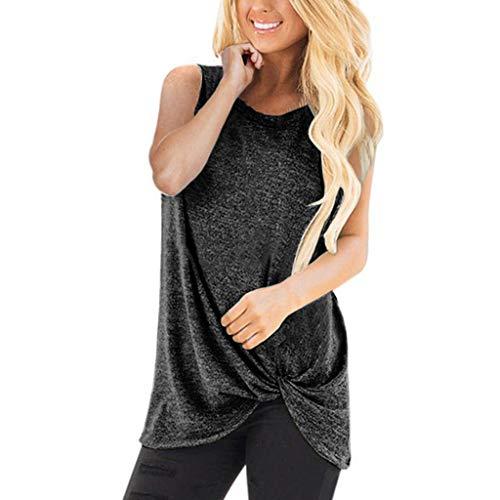 LUNIWEI T-Shirt for Women Solid Tops Vest Summer Loose Sleeveless Tee Blouse Shirt 2019 New Dark Gray