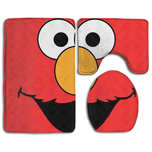 KOPTZA Sesame Street Elmo Face 3 Piece Bath Mat Set,Contour Bathroom Rug Set,Absorbent Flannel Bath Rugs,Non-Slip,Thick,Microfiber Bathrug,Shower Toilet Bathmats Carpet